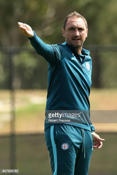 Coach Michael Valkanis gives instructions during a Melbourne City FC training session at City Football Academy on March 3 2017 in Melbourne Australia