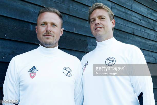 coach Michele Santoni of Almere City assistant trainer Ole Tobiasen during the Photocall Almere City at the Yanmar Stadium on July 16 2018 in Almere...