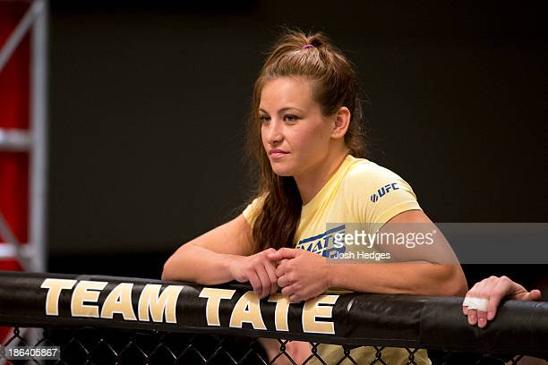 Coach Miesha Tate stands in the corner of Sarah Moras before her preliminary fight against Peggy Morgan during filming of season eighteen of The...