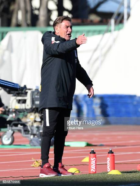 Coach Mihailo Petrovic of Urawa Red Diamonds gestures during the preseason friendly between Urawa Red Diamonds and FC Seoul at Urawa Komaba Stadium...