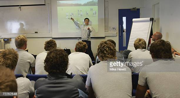 Coach Mike Friday takes a video analysis session during the RFU Junior National Academy Open Day at Bath University on October 24 2006 in Bath England