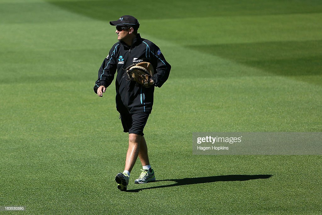 Coach Mike Hesson looks on during a New Zealand training session at Basin Reserve on March 12, 2013 in Wellington, New Zealand.