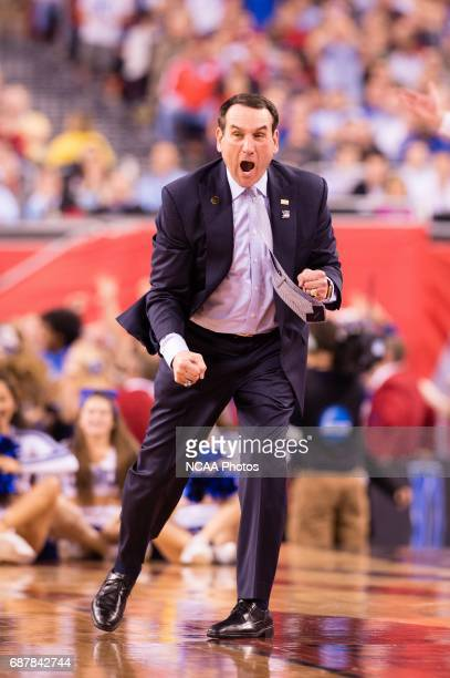 Coach Mike Krzyzewski of Duke University yells to his players against University of Wisconsin during the championship game at the 2015 NCAA Men's DI...