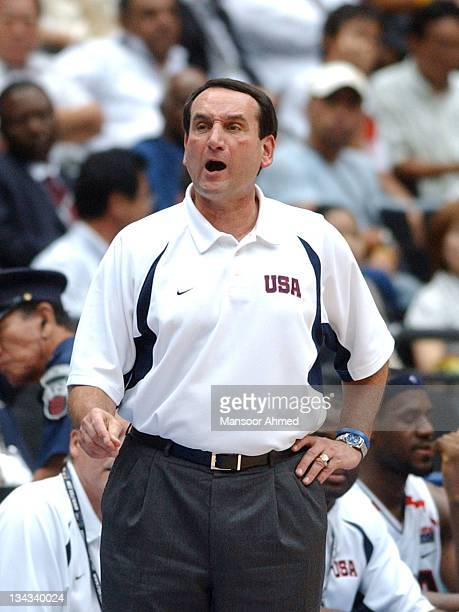 Coach Mike Krzyzewski of Team USA during the FIBA World Championship 2006 quarterfinal game between the United States and Germany at the Saitama...