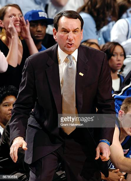 Coach Mike Krzyzewski of the Duke University Blue Devils reacts during a game against the North Carolina Tar Heels February 7 at the Dean Smith...