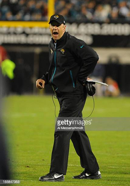 Coach Mike Mularkey of the Jacksonville Jaguars argues after a touchdown call during play against the Indianapolis Colts November 8 2012 at EverBank...