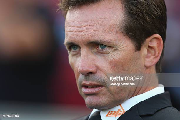 Coach Mike Mulvey of the Roar looks on during the round 18 A-League match between the Western Sydney Wanderers and Brisbane Roar at Pirtek Stadium on...