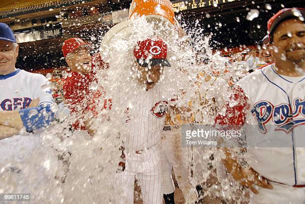 Coach Mike Oxley ROhio gets water dumped on him in celebration at the 45th Annual Roll Call Congressional Baseball game played at RFK stadium