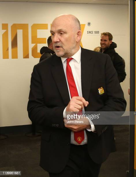 Coach Mike Phelan of Manchester United arrives ahead of the Premier League match between Wolverhampton Wanderers and Manchester United at Molineux on...