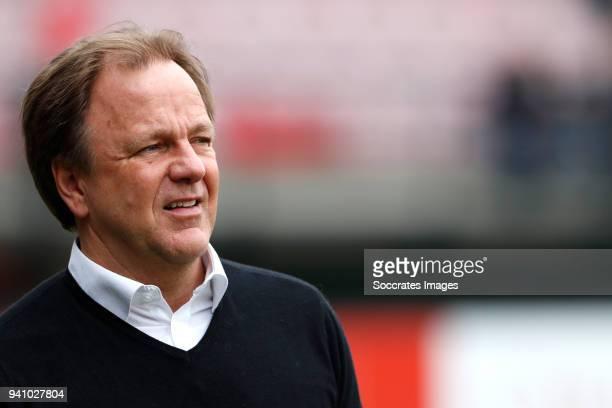 coach Mike Snoei of Telstar during the Dutch Jupiler League match between NEC Nijmegen v Telstar at the Goffert Stadium on April 2 2018 in Nijmegen...