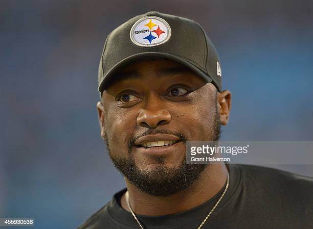 Coach Mike Tomlin of the Pittsburgh Steelers during their game against the Carolina Panthers at Bank of America Stadium on September 21 2014 in...