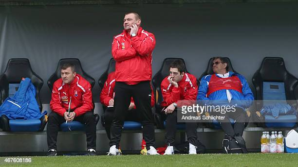 Coach Milan Malatinsky of Slovakia during the UEFA Under19 Elite Round match between U19 Germany and U19 Slovakia at Carl-Benz-Stadium on March 26,...