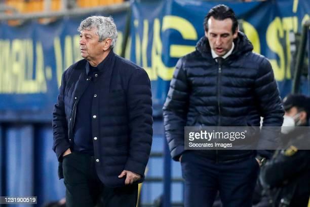 Coach Mircea Lucescu of Dynamo Kiev, coach Unai Emery of Villarreal during the UEFA Europa League match between Villarreal v Dynamo Kiev at the...