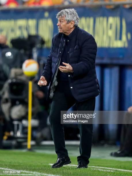 Coach Mircea Lucescu of Dynamo Kiev during the UEFA Europa League match between Villarreal v Dynamo Kiev at the Estadio de la Ceramica on March 18,...
