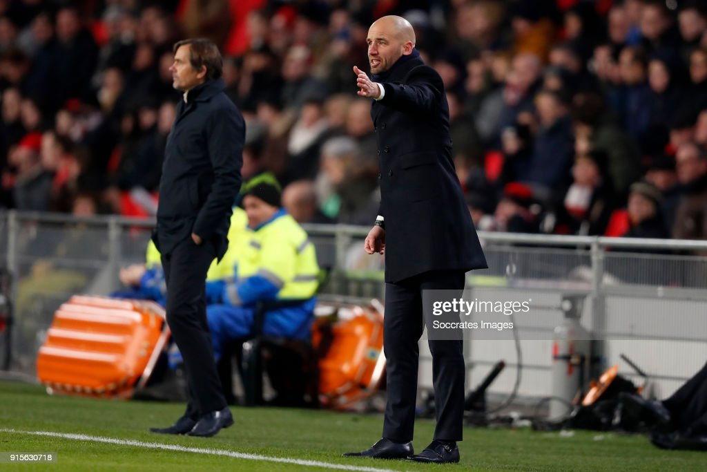 coach Mitchell van der Gaag of Excelsior during the Dutch Eredivisie match between PSV v Excelsior at the Philips Stadium on February 7, 2018 in Eindhoven Netherlands