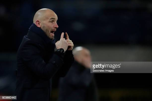 coach Mitchell van der Gaag of Excelsior during the Dutch Eredivisie match between SC Heerenveen v Excelsior at the Abe Lenstra Stadium on February...