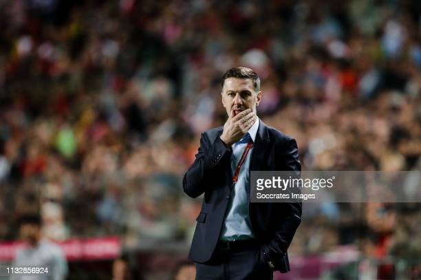 coach Mladen Krstajic of Serbia during the EURO Qualifier match between Portugal v Serbia at the Estádio da Luz on March 25 2019 in Lisbon Portugal