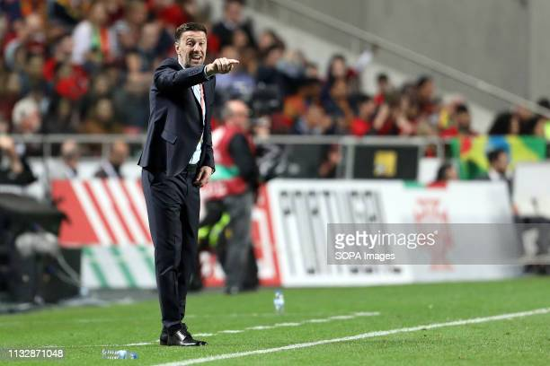 Coach Mladen Krstajic of Serbia in action during the Qualifiers Group B to Euro 2020 football match between Portugal vs Serbia