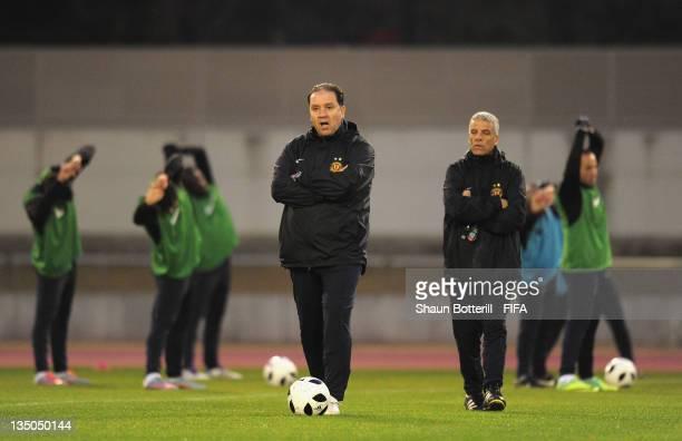 Coach Nabil Maaloul during an Esperance Sportive de Tunis training session at Wave Stadium on December 6 2011 in Kariya Japan