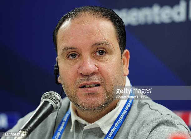 Coach Nabil Maaloul talks to the media during the Esperance Sportive de Tunis Press Conference at Toyta Stadium on December 10 2011 in Toyota Japan