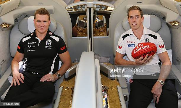 Coach Nathan Buckley and captain Nick Maxwell sit in the cabin of an Emirates A380 aircraft after the Collingwood Magpies 2013 Captaincy And...