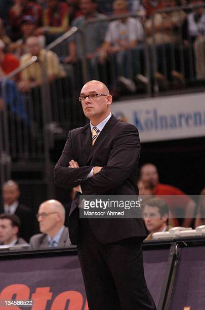 Coach Nevan Spahija of Macabbi Tel Aviv looks on during the NBA Europe Live Tour presented by EA Sports on October 10 2006 at the Koeln Arena in...
