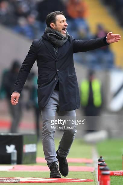 Coach Niko Kovac of Frankfurt gestures during the Bundesliga match between Eintracht Frankfurt and 1 FSV Mainz 05 at CommerzbankArena on March 17...