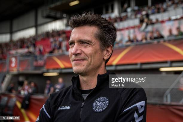 Coach Nils Nielsen of Denmark looks on prior the UEFA Women's Euro 2017 Quarter Final match between Germany and Denmark at Sparta Stadion on July 30...