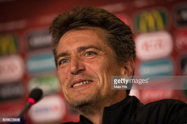 Coach Nils Nielsen of Denmark smiles during a press conference prior UEFA Women's Euro 2017 Final against Netherlands at De Grolsch Veste Stadium on...