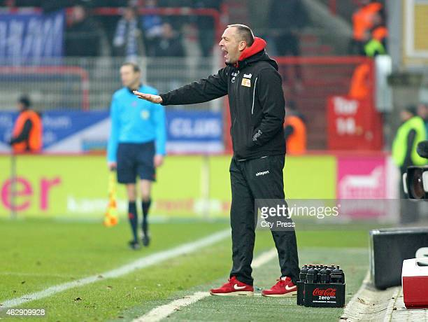 coach Norbert Duewel of 1 FC Union Berlin gives instructions during the game between Union Berlin and VfL Bochum on february 7 2015 in Berlin Germany