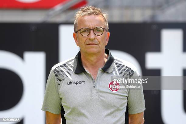 Coach Norbert Meier of 1 FC Kaiserslautern poses during the team presentation at on July 3 2017 in Kaiserslautern Germany
