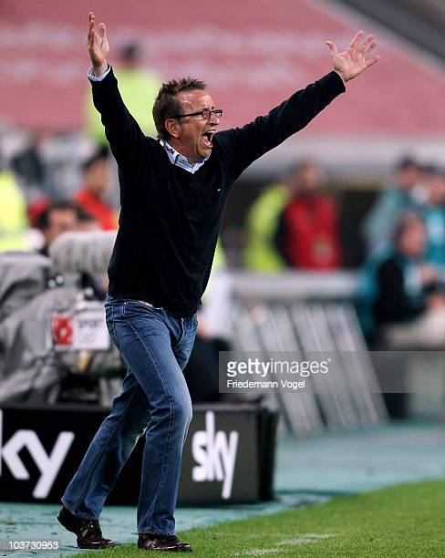 Coach Norbert Meier of Duesseldorf yells during the Second Bundesliga match between Fortuna Duesseldorf and Hertha BSC Berlin at Esprit Arena on...