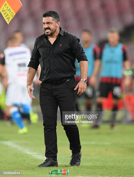 Coach of AC Milan Gennaro Gattuso gestures during the serie A match between SSC Napoli and AC Milan at Stadio San Paolo on August 25 2018 in Naples...