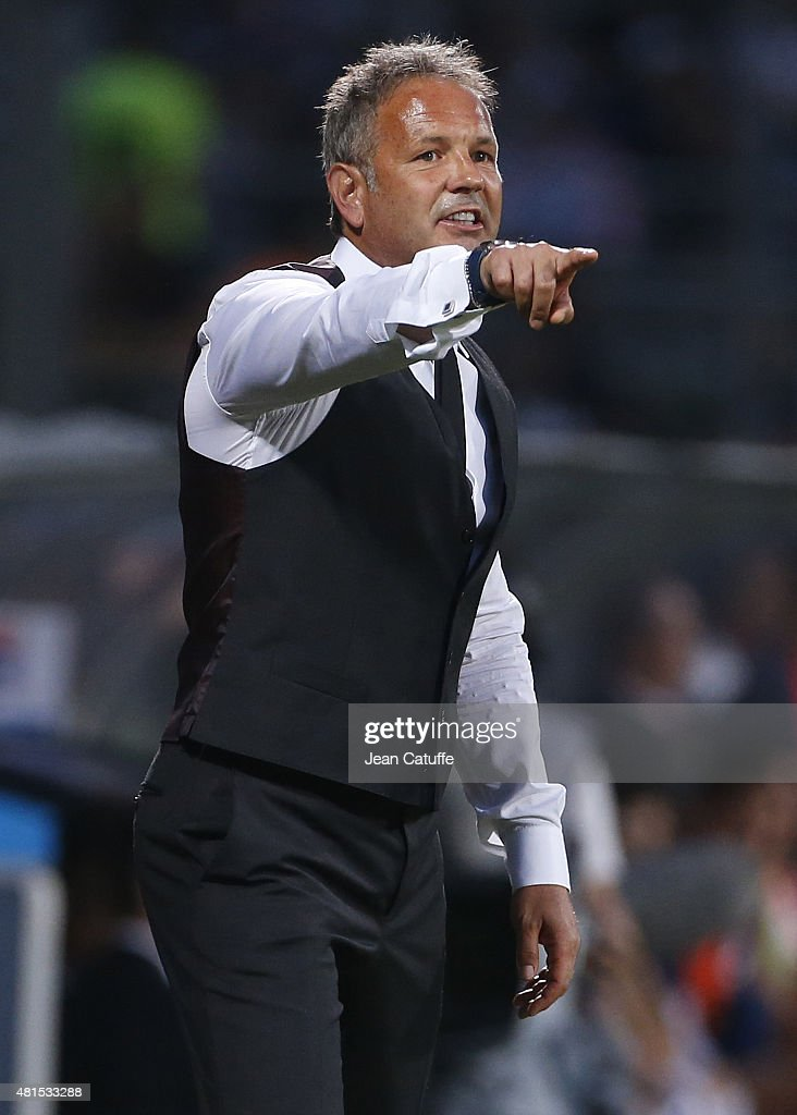 Coach of AC Milan Sinisa Mihajlovic looks on during the friendly match between Olympique Lyonnais (OL) and AC Milan (Milan AC) at Stade de Gerland on July 18, 2015 in Lyon, France.