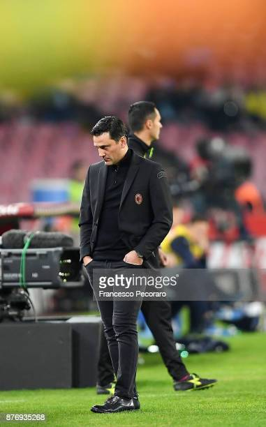Coach of AC Milan Vincenzo Montella looks on during the Serie A match between SSC Napoli and AC Milan at Stadio San Paolo on November 18 2017 in...