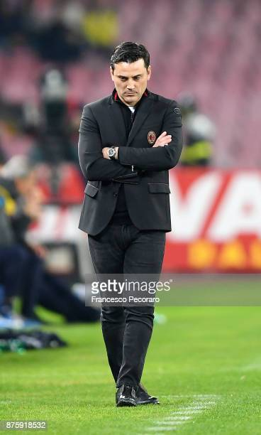 Coach of AC Milan Vincenzo Montella stands disappointed during the Serie A match between SSC Napoli and AC Milan at Stadio San Paolo on November 18...