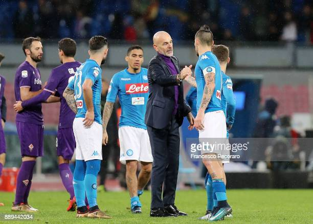 Coach of ACF Fiorentina Stefano Pioli greets Marek Hamsik player of SSC Napoli after the Serie A match between SSC Napoli and ACF Fiorentina at...