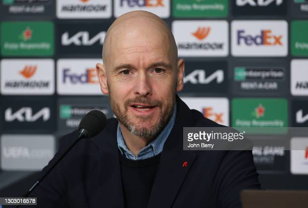 Coach of Ajax Amsterdam Erik ten Hag answers to the media during the post-match press conference following the UEFA Europa League Round of 32 match...
