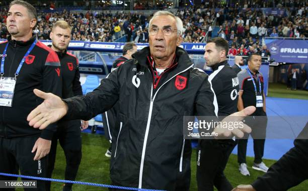 Coach of Albania Edoardo Reja complains about the national anthem mix-up during the UEFA Euro 2020 qualifier match between France and Albania at...