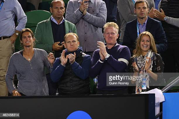 Coach of Andy Murray Amelie Mauresmo and Kim Sears celebrate as Andy Murray of Great Britain wins his semifinal match against Tomas Berdych of the...