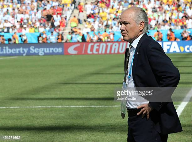 Coach of Argentina Alejandro Sabella looks on during the 2014 FIFA World Cup Brazil Round of 16 match between Argentina and Switzerland at Arena de...
