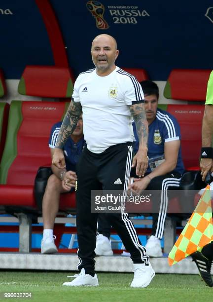 Coach of Argentina Jorge Sampaoli during the 2018 FIFA World Cup Russia Round of 16 match between France and Argentina at Kazan Arena on June 30 2018...