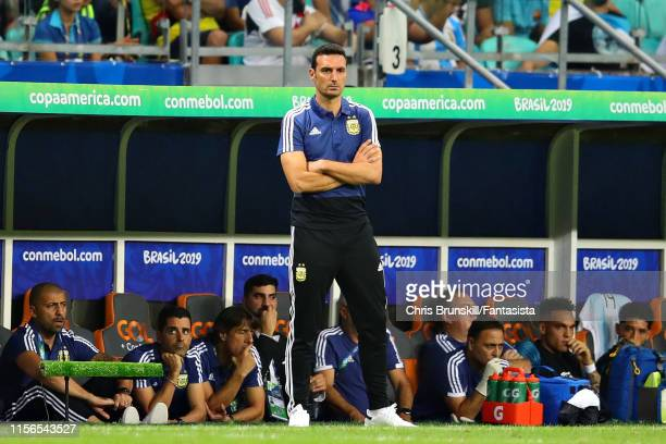 Coach of Argentina Lionel Scaloni looks on during the Copa America Brazil 2019 group B match between Argentina and Colombia at Arena Fonte Nova on...