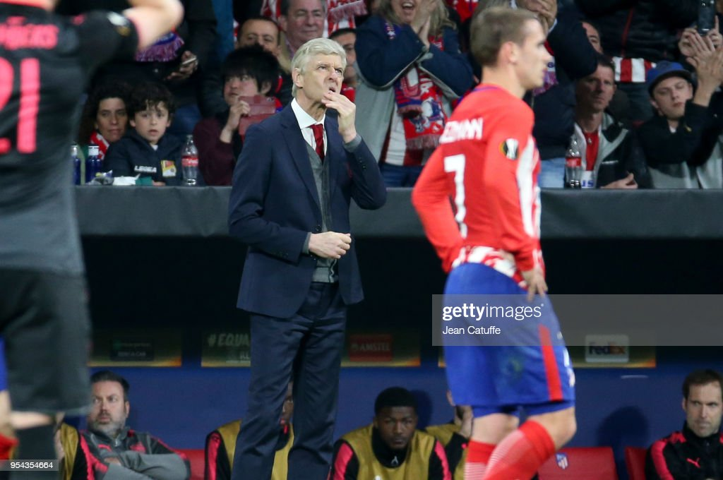 Coach of Arsenal Arsene Wenger during the UEFA Europa League Semi Final second leg match between Atletico Madrid and Arsenal FC at Estadio Wanda Metropolitano on May 3, 2018 in Madrid, Spain.