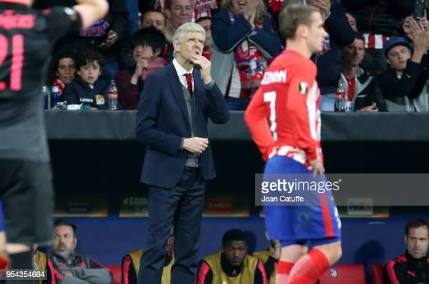 Coach of Arsenal Arsene Wenger during the UEFA Europa League Semi Final second leg match between Atletico Madrid and Arsenal FC at Estadio Wanda...
