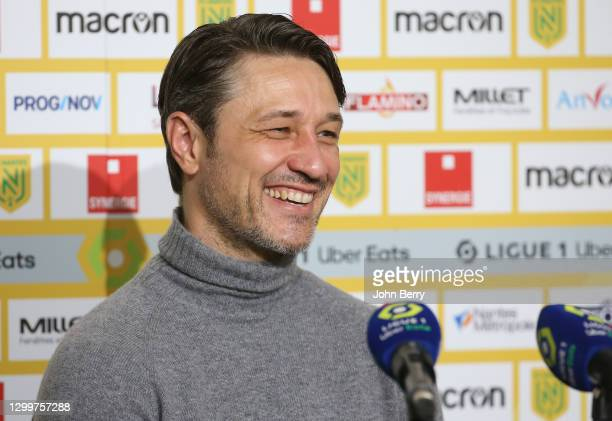 Coach of AS Monaco Niko Kovac answers to the media during the post-match press conference following the Ligue 1 match between FC Nantes and AS Monaco...