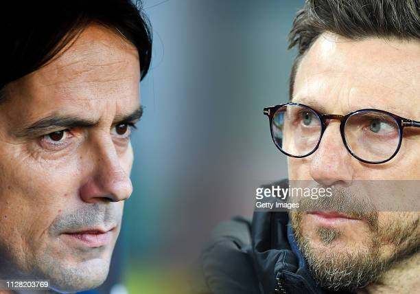 Coach of AS Roma Eusebio Di Francesco looks on during the serie A match between SSC Napoli and AS Roma - Serie A at Stadio San Paolo on March 3, 2018...