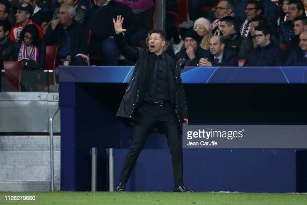 Coach of Atletico Madrid Diego Simeone during the UEFA Champions League Round of 16 First Leg match between Club Atletico Madrid and Juventus Turin...