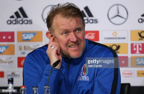 Coach of Azerbaijan Robert Prosinecki answers to the media following the FIFA 2018 World Cup Qualifier between Germany and Azerbaijan at Fritz-Walter...