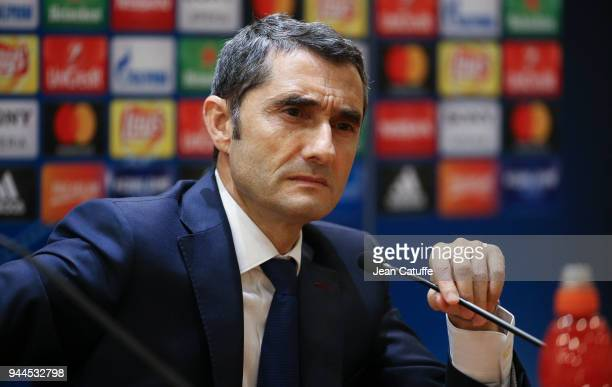 Coach of Barcelona Ernesto Valverde answers to the media following the UEFA Champions League Quarter Final second leg match between AS Roma and FC...